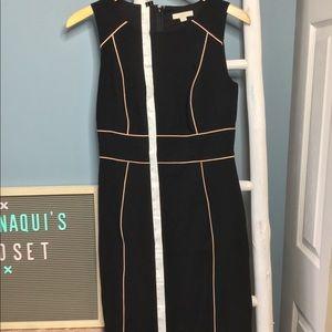 Ann Taylor LOFT black dress size 4 w/ pink detail